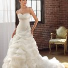 A-line Sweetheart Pick-up Organza Satin 2012 Wedding Dress