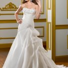 A-line Appliques Strapless Organza Satin Lace-up 2012 Wedding Dress