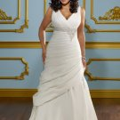 A-line Beading Cap Sleeve 2012 Plus Size Wedding Dress
