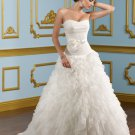 A-line Scoop Neckline Ruffled Organza 2012 Wedding Dress
