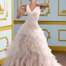 A-line V-neck Ruffled Organza 2012 Wedding Dress