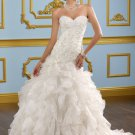 Drop Waist Applique Organza Sweetheart 2012 Wedding Dress