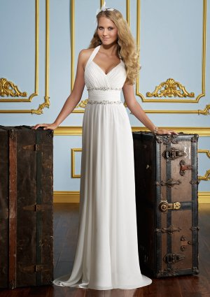 Straight Beading Delicate Chiffon 2012 Wedding Dress