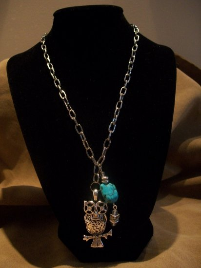 Owl and Turquoise Necklace