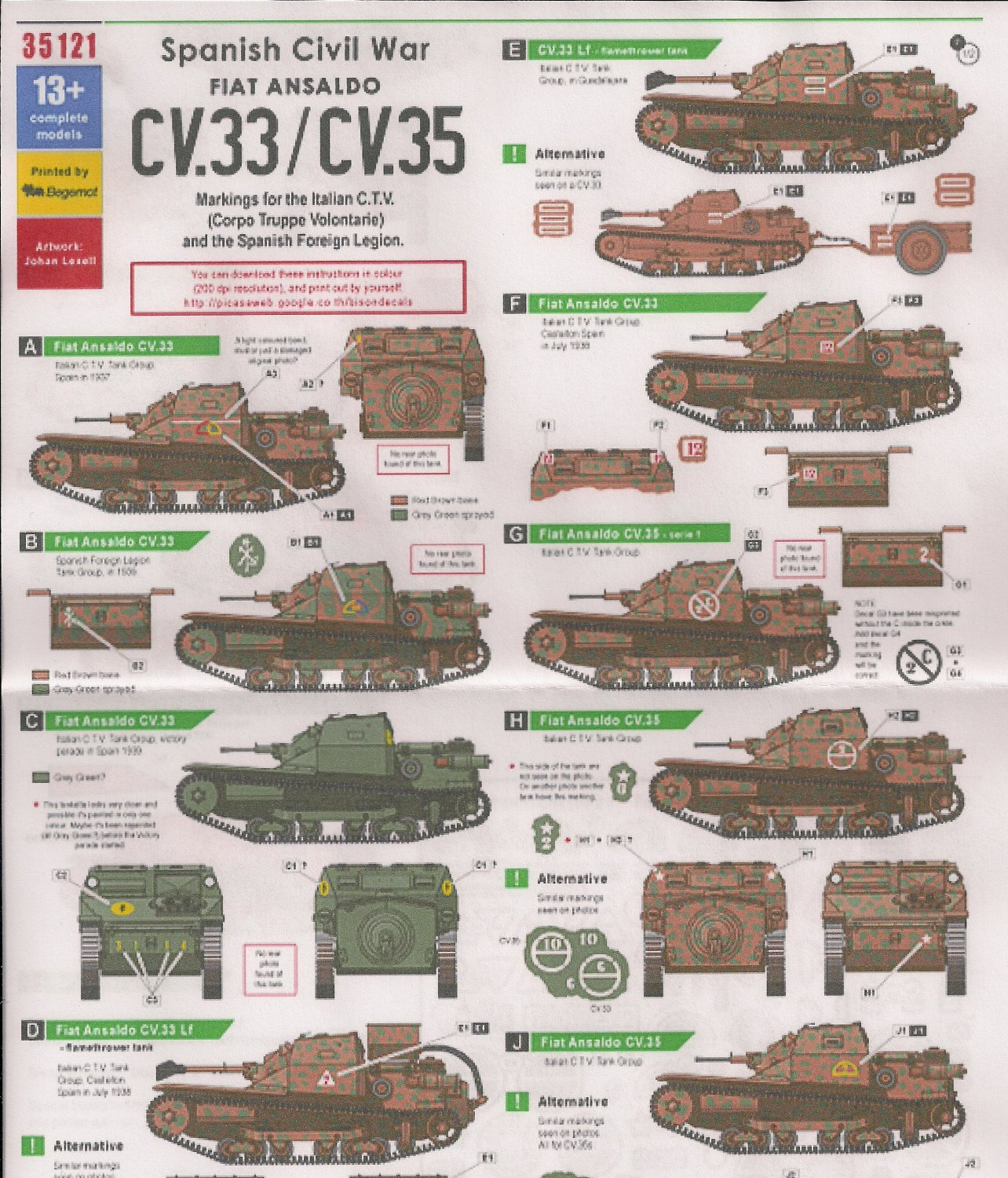 bison decals 1  35 spanish civil war fiat ansaldo cv 33  cv