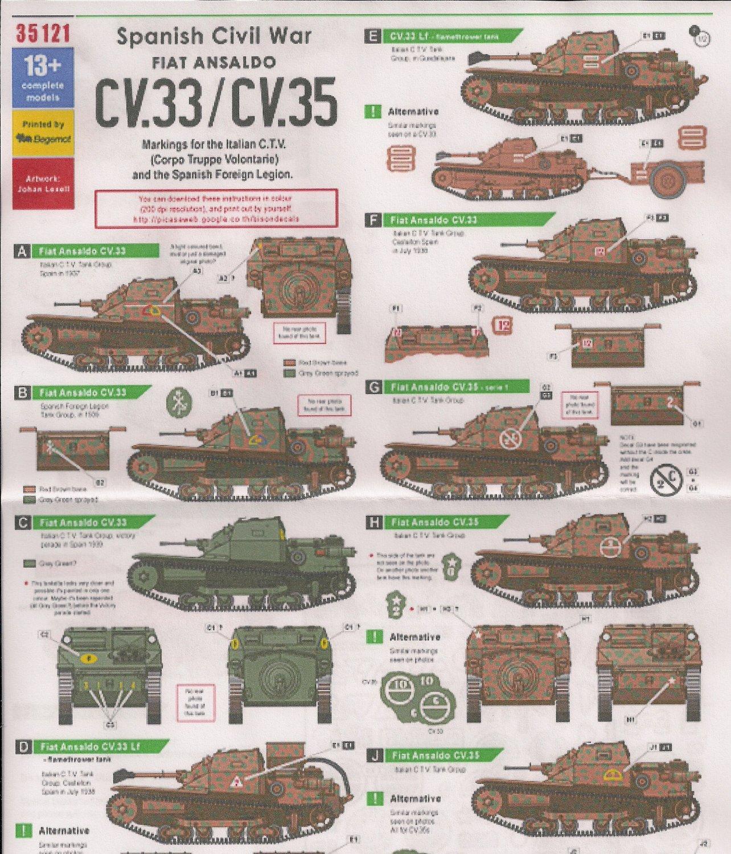 bison decals 1  35 spanish civil war fiat ansaldo cv 33  cv
