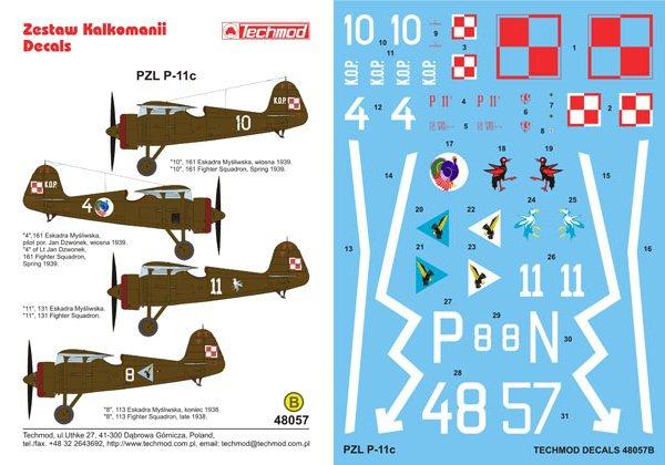 Techmod 1/48 PZL P-11c Polish Reconaissance Aircraft 48057