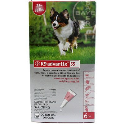K9 Advantix Topical Flea & Tick Medication Red 6 Month Supply (Dogs 21-55 Lbs)