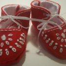 1/2 off on Sizes in Stock, Hand Embroidered Baby Booties, Red Felt, Newborn size, Boy or Girl