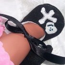 Skull and Crossbones Mary Janes, Felt Baby Shoes, Sizes X-Small to Large, Custom Sizes
