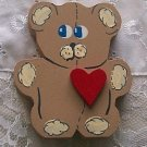 Wood Bear with Heart, Hand painted, Hand Made Wood Crafts by Carolina Country Crafts
