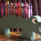 Alligator Crayon Holder, Wood, Hand painted