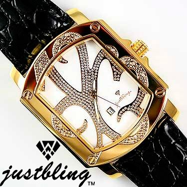 Just Bling Designer - Stainless Steel 18K Plated .16 cts. Diamond White Face Mens Watch