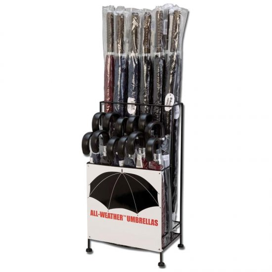 All-Weather� 24pc Polyester Umbrella Set in Metal Display Stand ALL-WEATHER 24PC UMBRELLA SET