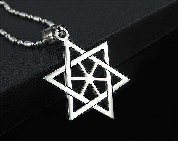 STAR OF DAVID Solomon Hexagram Silver Pendant Necklace Chain