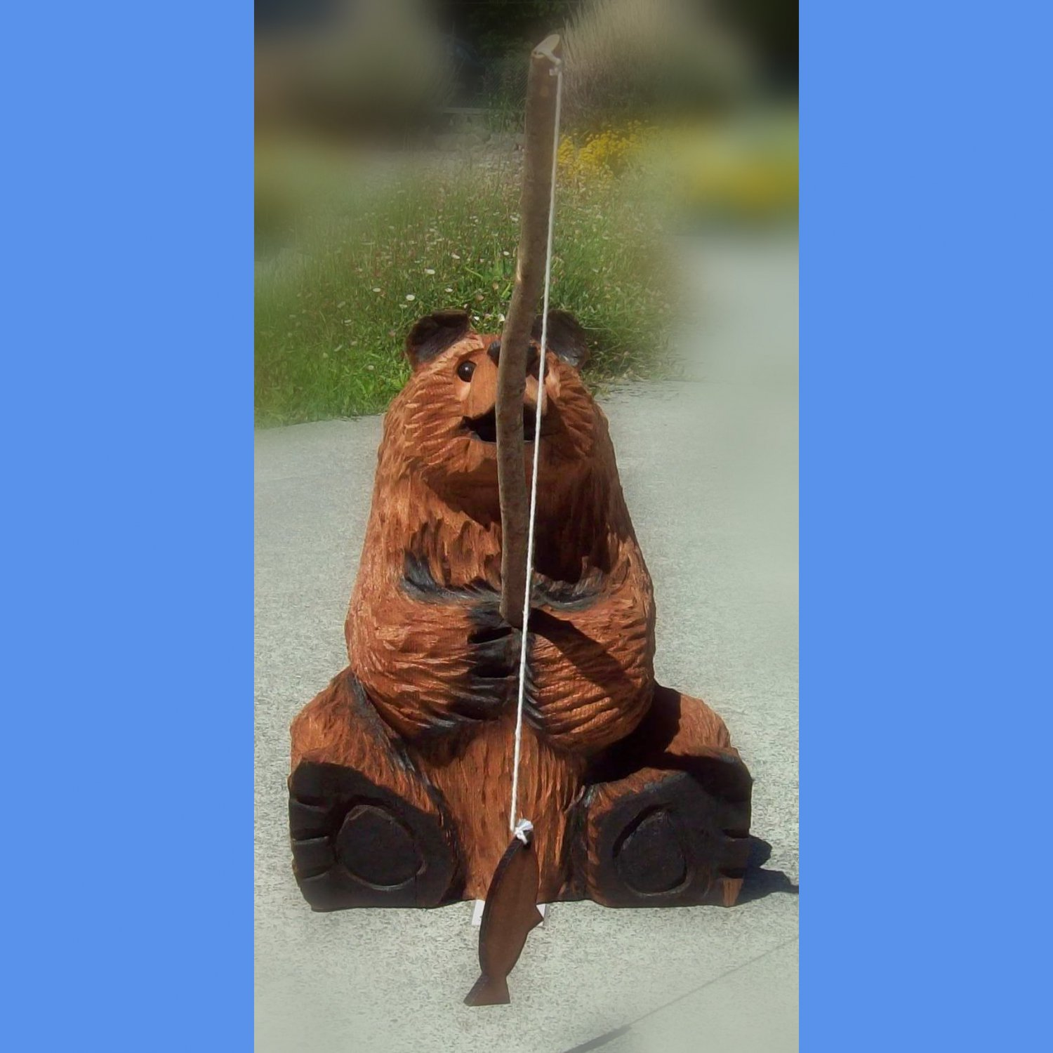 Sitting fishing bear quot by james chainsaw carving