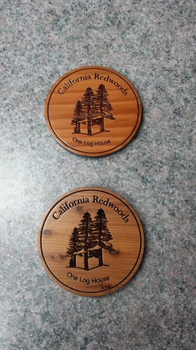 Redwood Coaster Circle Laser Engraved #4582