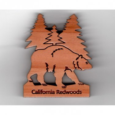 Bear with Trees Redwood Magnet #4002 HWP