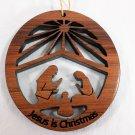 Nativity Ornament Laser Redwood Handcrafted #1059L HWP