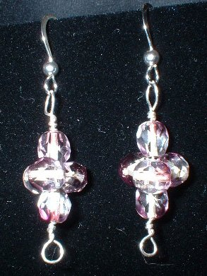 Sterling Silver Clear and Purple Faceted Beaded Earrings