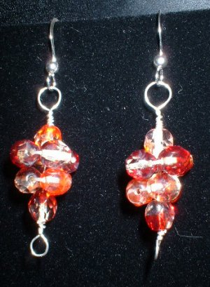 Sterling Silver Red and Orange Faceted Beaded Earrings