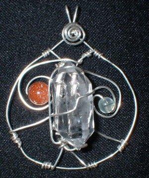 Sterling Silver Tibetan Quartz w/Goldstone and Prehnite Pendant