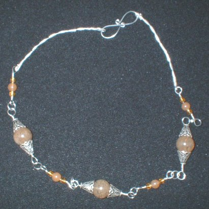 Sterling Silver Included Quartz and Orange Adventurine Necklace