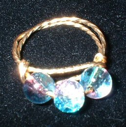 Brass Wire Blue & Pink Pinky Ring, size 4 3/4