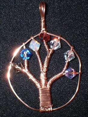 Copper Tree of Life w/Swarovski Beads