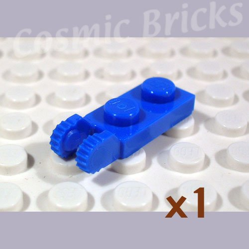 LEGO Blue Hinge Plate 1x2 Locking 2 Fingers On End 4518447 44302 (single,N)