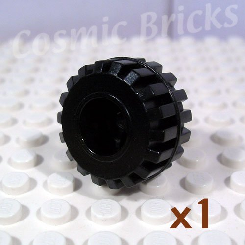 LEGO Black Wheel Small Wide Hard Plastic Axle hole Tread 41864 (single,N)