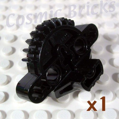LEGO Black Bionicle Matoran Torso Gear 9 Tooth 3 Axle Holes 2 Pin Holes 44810 (single,N)