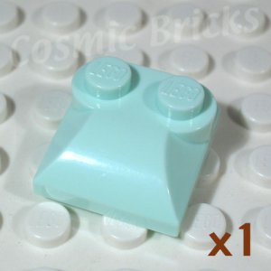 LEGO Light Aqua Brick Modified 2x2x0.6 Two Studs Curved End 4626861 (single,N)