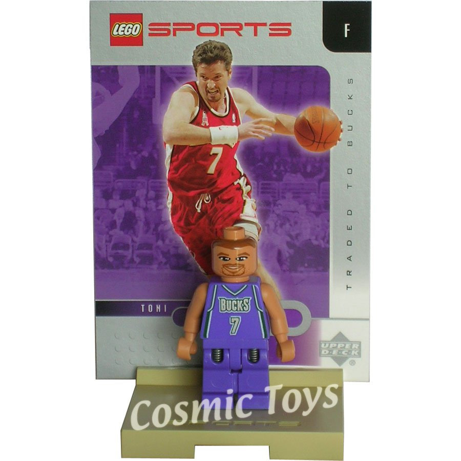 LEGO Toni Kukoc NBA minifig, stand and chrome trading card (single,N)