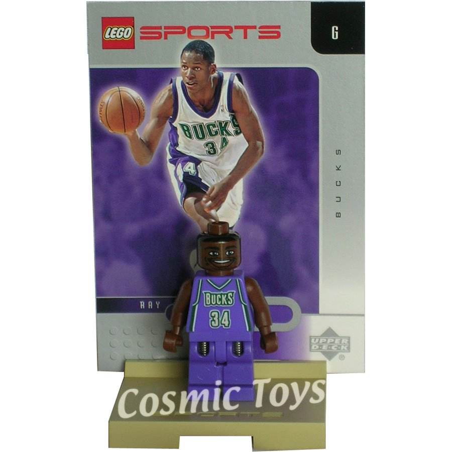 LEGO Ray Allen NBA minifig, stand and chrome trading card (single,N)