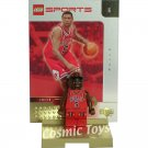 LEGO Jalen Rose NBA minifig, stand and gold-leaf trading card (single,N)