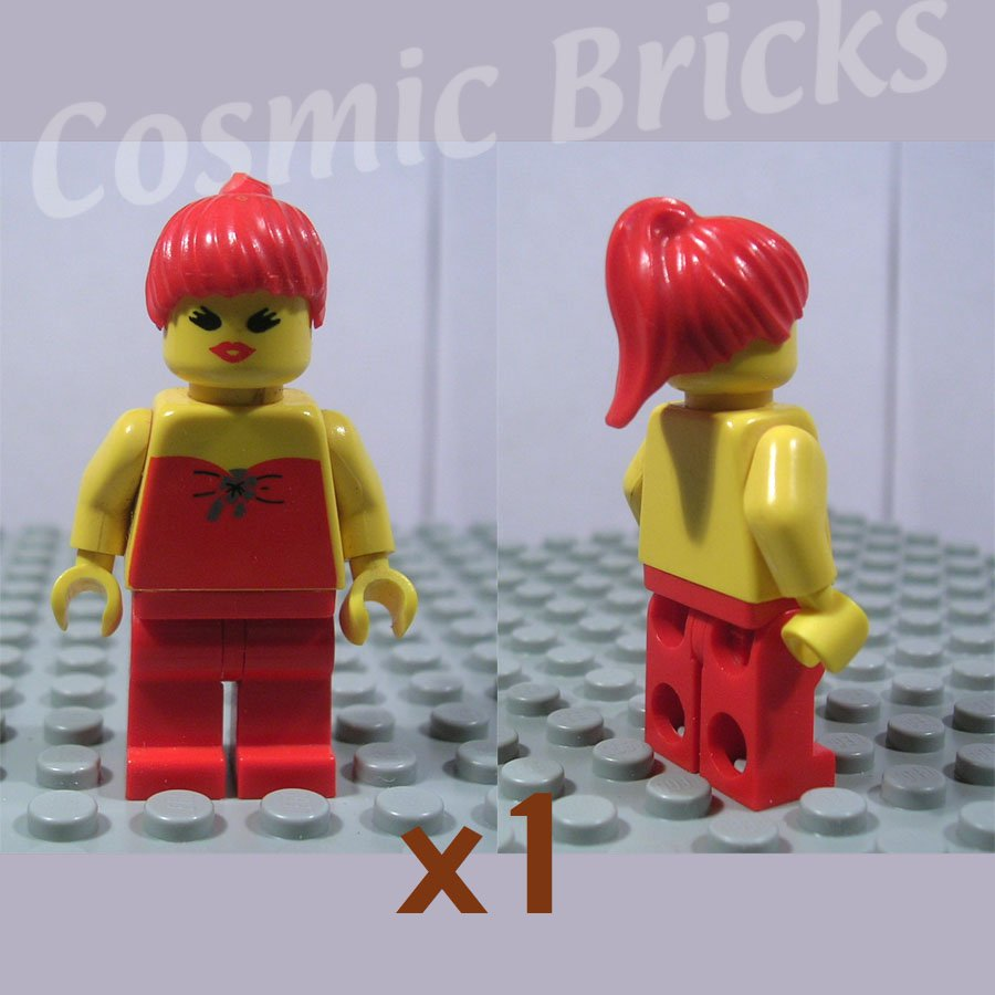 LEGO Classic Town Red Halter Top Red Legs Red Ponytail Hair minifigure (single,U)