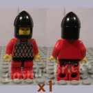 LEGO Castle Scale Mail Red Arms Red Legs Black Hips Black Chin-Guard (single,U)