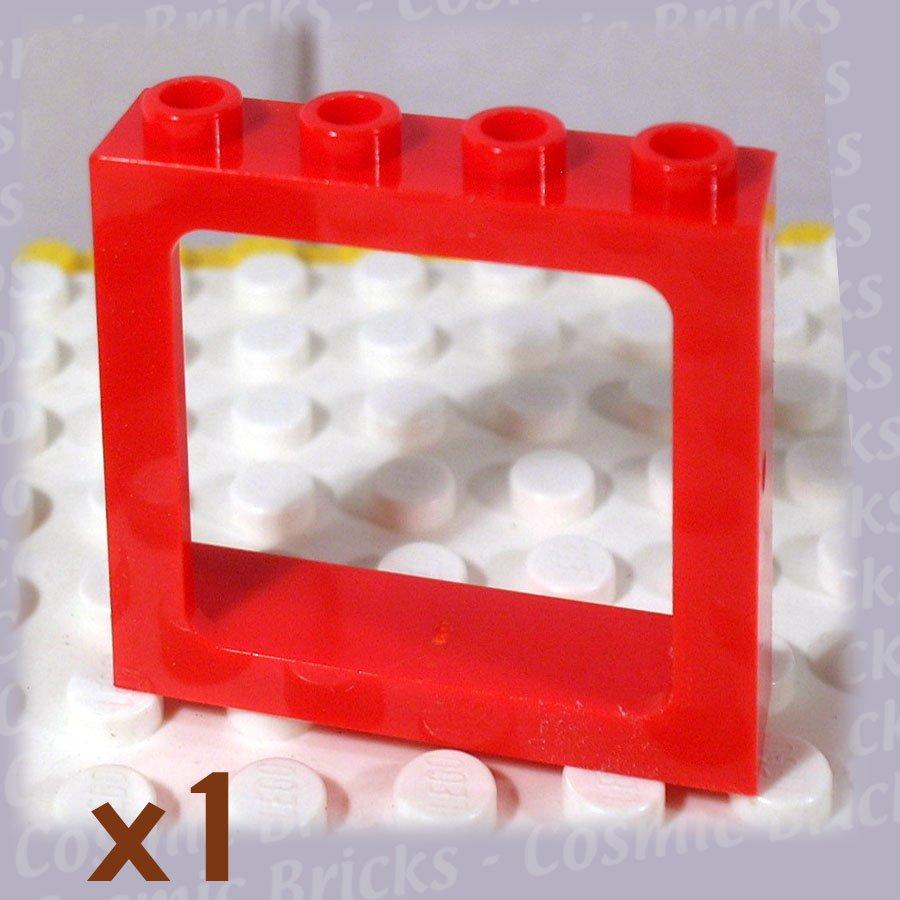 LEGO Bright Red Window 1x4x3 Train All Studs Hollow 4100371 4033 (single,N)