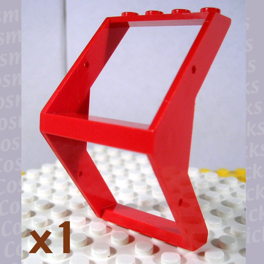 LEGO Red Window 4x4x6 Outward Sloping 474121 4741 (single,U)