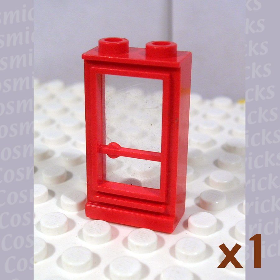 LEGO Bright Red Door 1x2x3 Right Open Studs Fixed Glass (single,U)