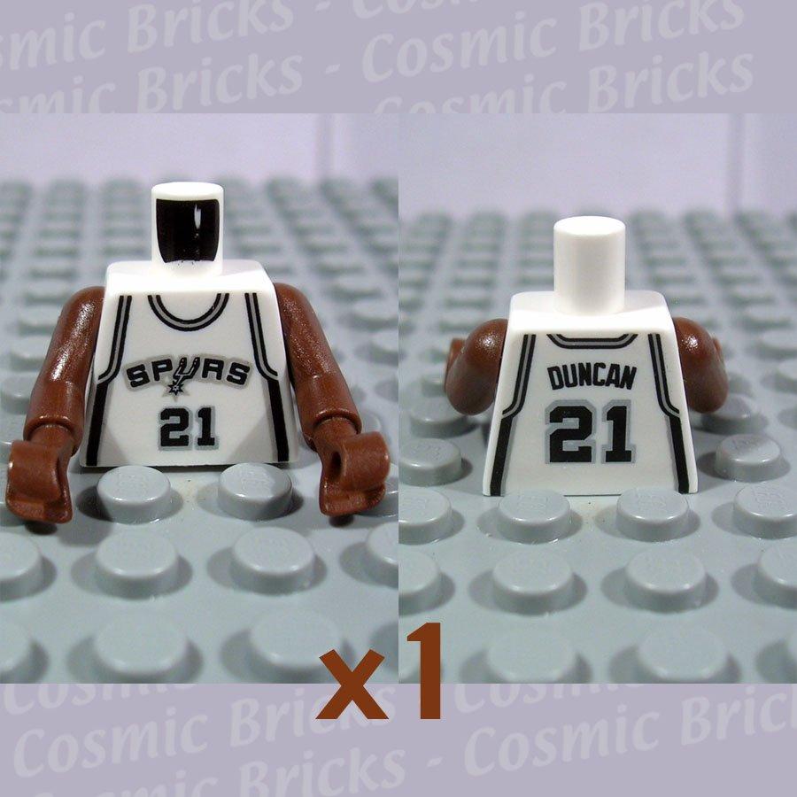 LEGO White Torso NBA San Antonio Spurs #21 Pattern Brown NBA Arms (single,N)