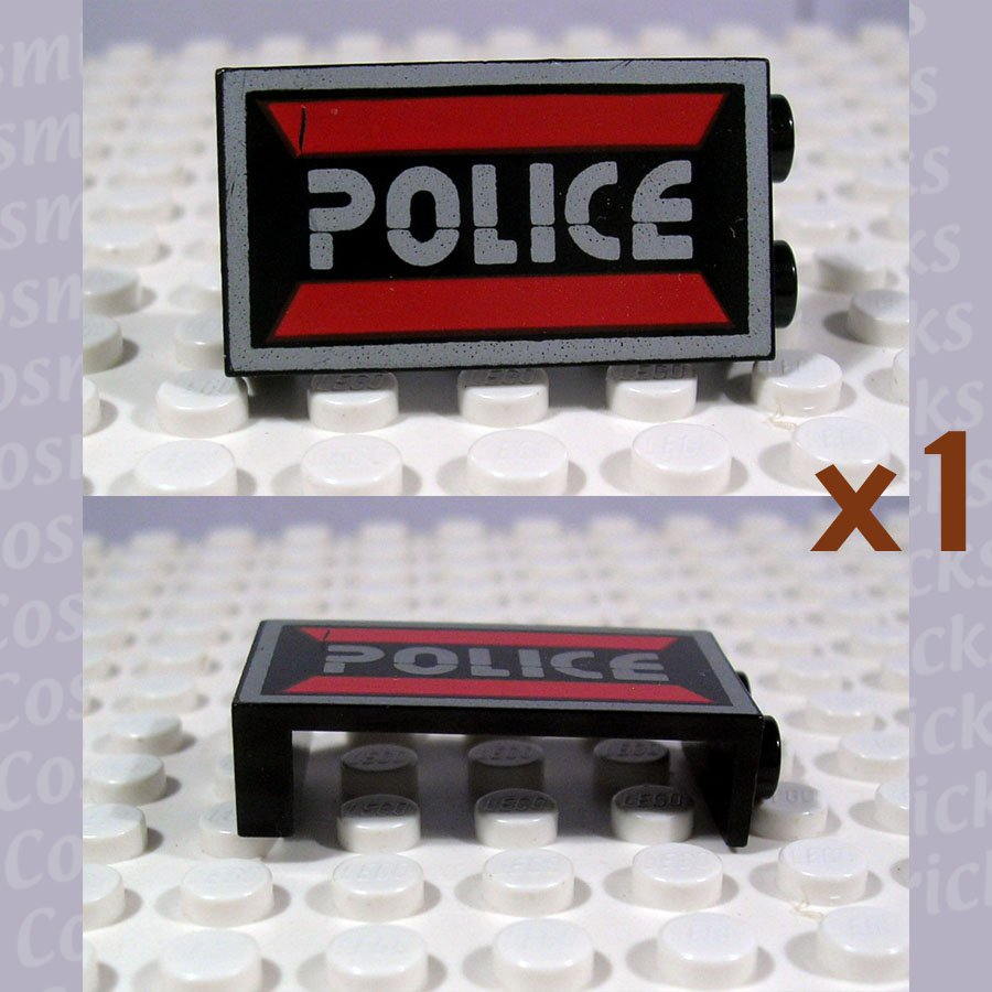 LEGO Black Panel 1x2x3 Space Police I Logo Left 2362 (single,U)