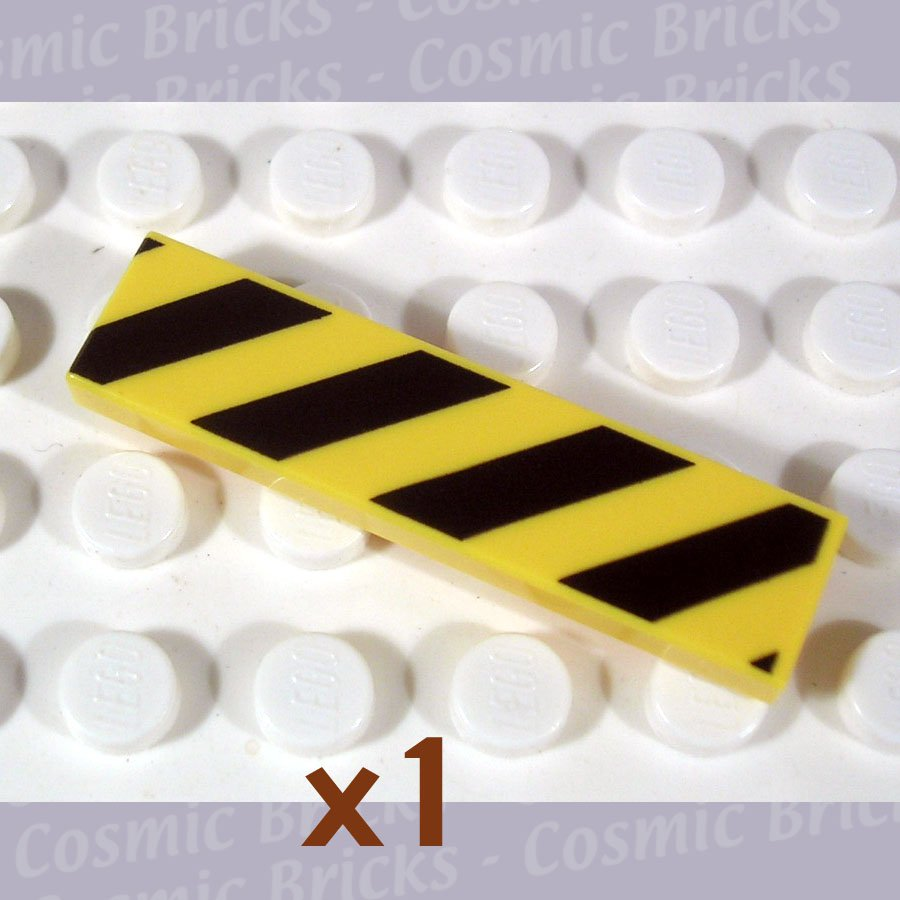 LEGO Yellow Tile 1x4 Diagonal Stripes Black 4119091 2431 (single,N)
