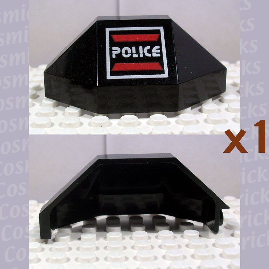 LEGO Black Panel 3x3x6 Corner Convex Space Police I Logo Left 2468 (single,U)