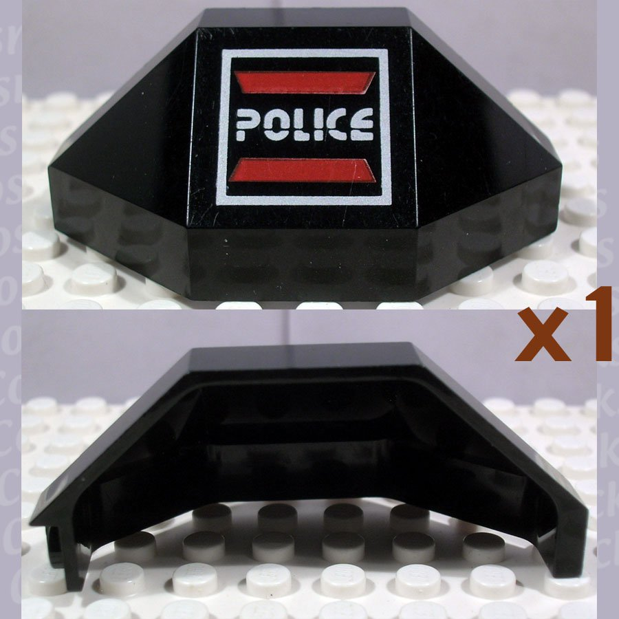 LEGO Black Panel 3x3x6 Corner Convex Space Police I Logo Right (single,U)
