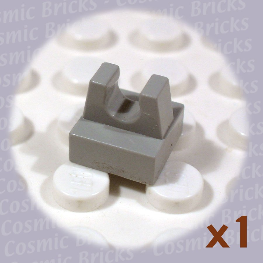 LEGO Light Gray Tile Modified 1x1 with Clip 2555 255502 (single,N)