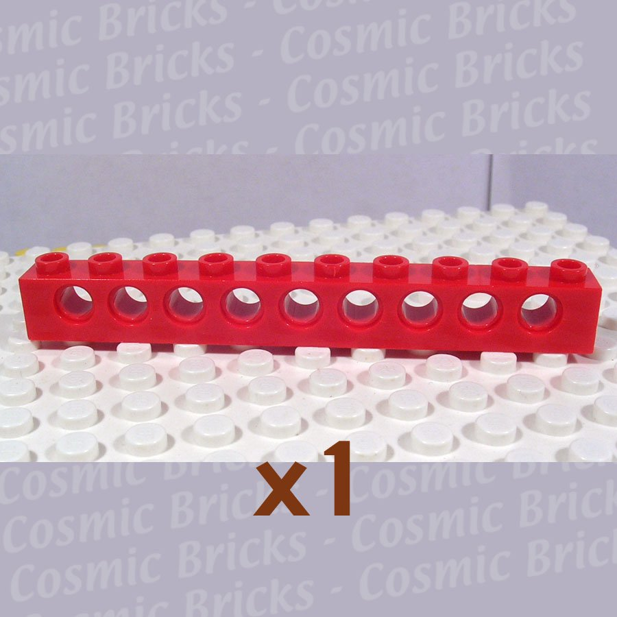 LEGO Red Technic Brick 1x10 with Holes 273021 2730 (single,U)
