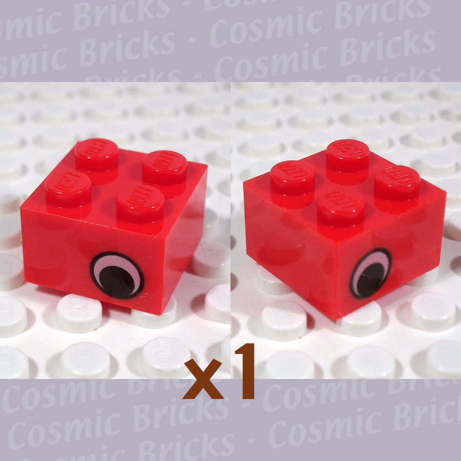 LEGO Red Brick 2x2 Eye Two Sides Offset (single,N)