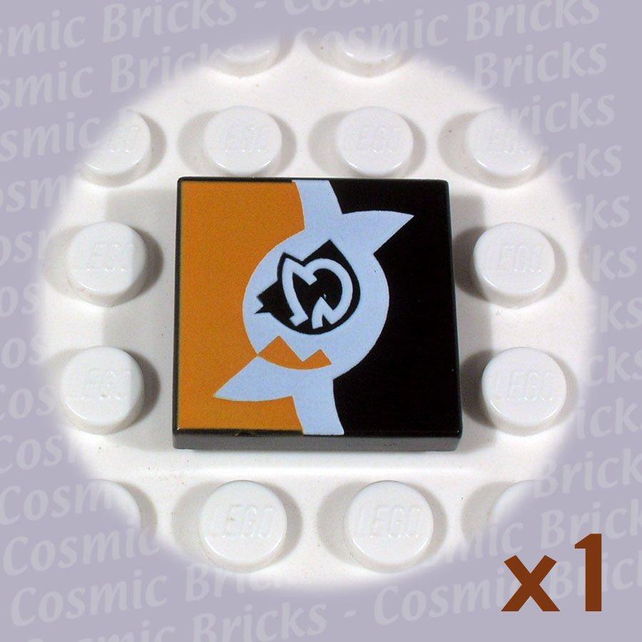 LEGO Black Tile 2x2 SW White and Orange 3068 (single,N)